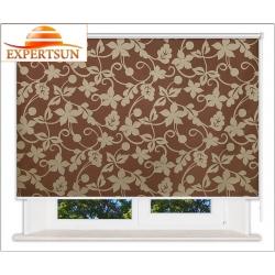 Рулонные шторы Люкс. Ажур коричневый